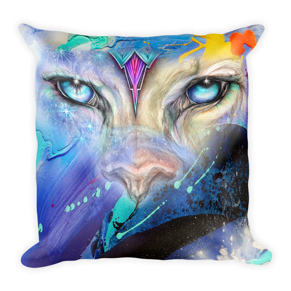 Mystical Cat and Tribal Wolf Throw Pillow