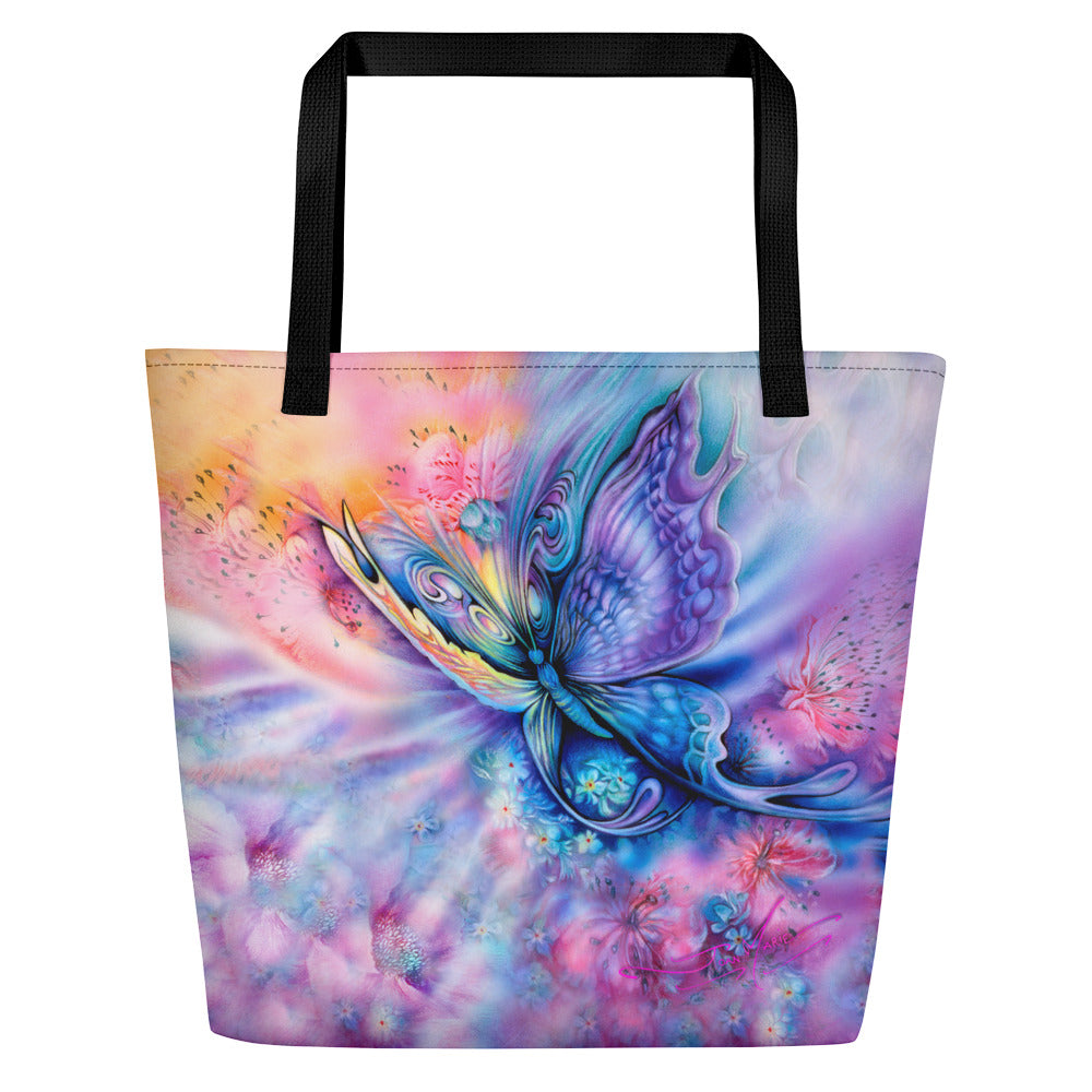 Butterfly Large Tote Bag - Beach Bag