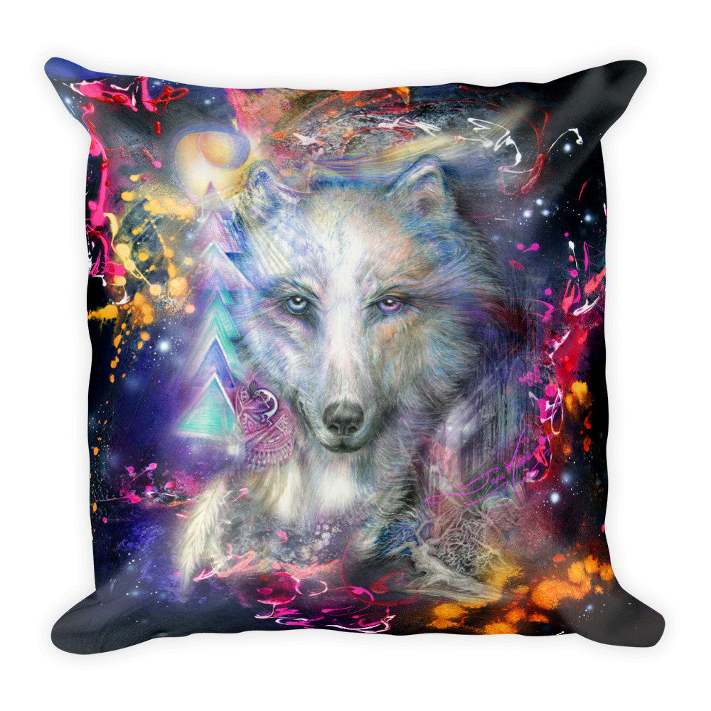 Tribal Wolf Throw Pillow