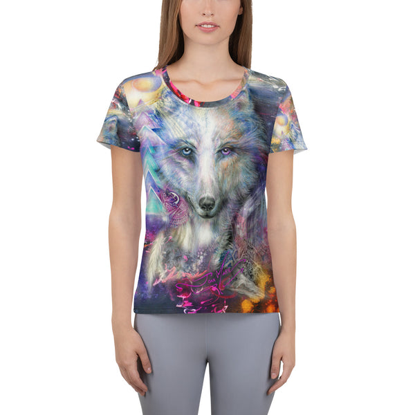 Wolf, Protector.....All-Over Print Women's Athletic T-shirt