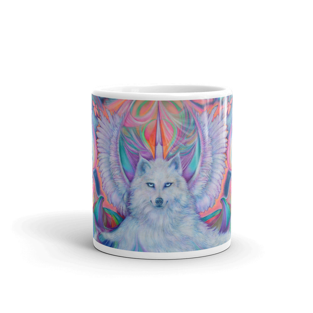 White Wolf Unicorn Coffee Mug