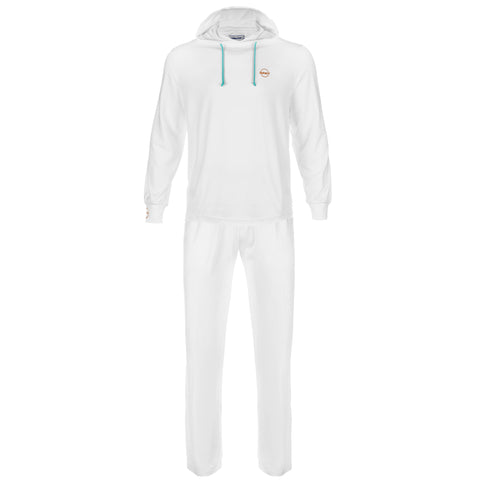 Aloha UV Men's & Womens UPF 50+ Sun Protection and Performance Hoodie & Pants Set, White, L