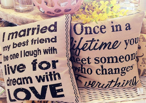 Burlap Pillow 'I married my best friend...'