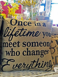 Burlap Pillow 'Once in a lifetime...'