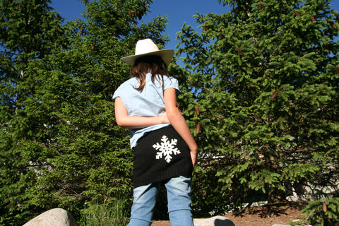 Kids SkiBums Bum Warmer with Snowflake on Black Skirt