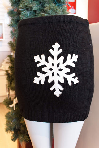 Lady's SkiBums Bum Warmer with Snowflake on Black Skirt
