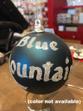 Georgian Christmas Personalized Blue and Silver Ornament that reads Blue Mountains