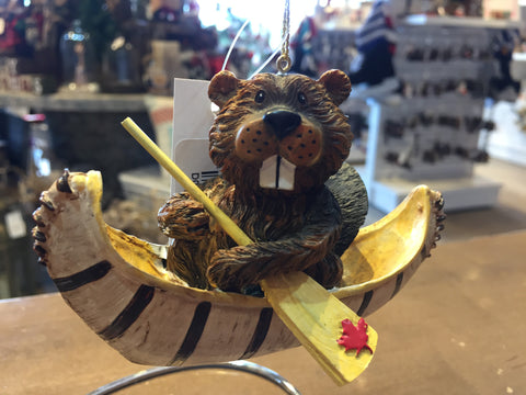 Beaver in Canoe Ornament