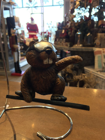 Beaver on a Snowboard Ornament