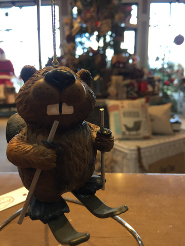 Beaver on Skiis Ornament