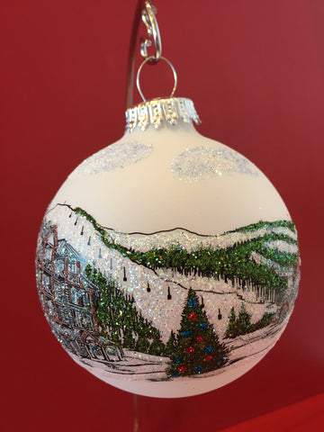 Hand Painted Ornament in Swarovski crystals depicting the Blue Mountain Village pond, Jozo Weider Hotel with Ski Slope in the background.
