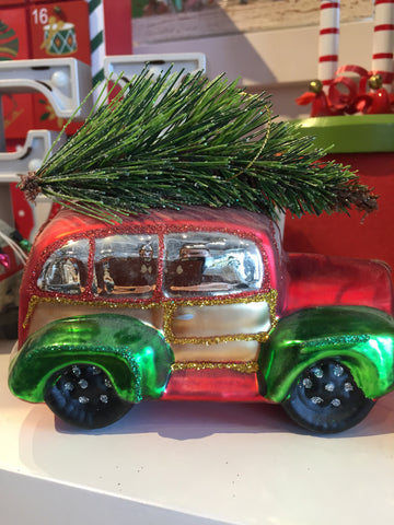 Christmas Glass Car With Tree On Top Ornament