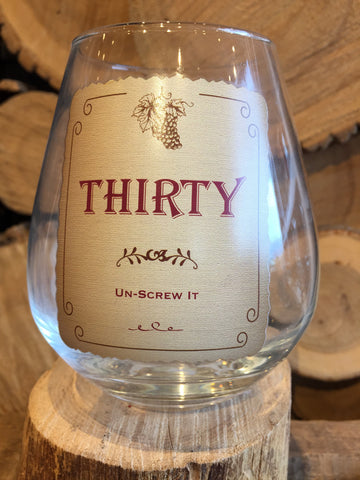 "This Stemless Wine Glass inscribed with, ""Un-Screw It"""