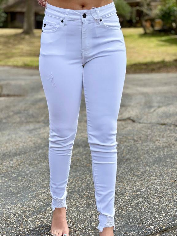 white distressed ankle jeans
