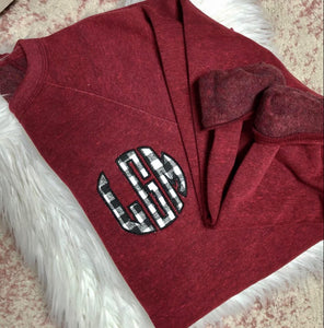 Personalized Black Plaid Maroon Pocket Size Sweatshirt
