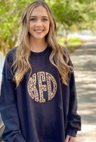 Personalized Leopard Applique Black Sweatshirt