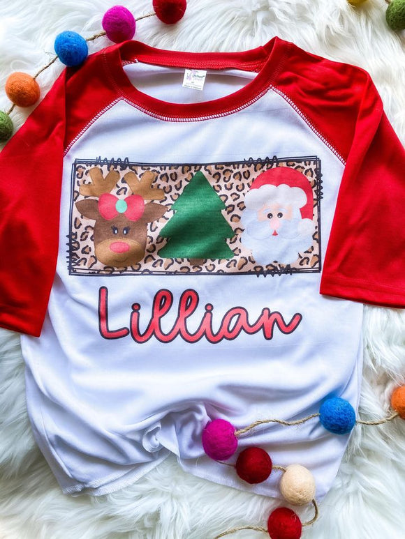 Personalized Christmas Trio Design Raglan -Girl Version