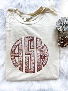 Personalized Rose Gold Mermaid Sequins Ivory Tee