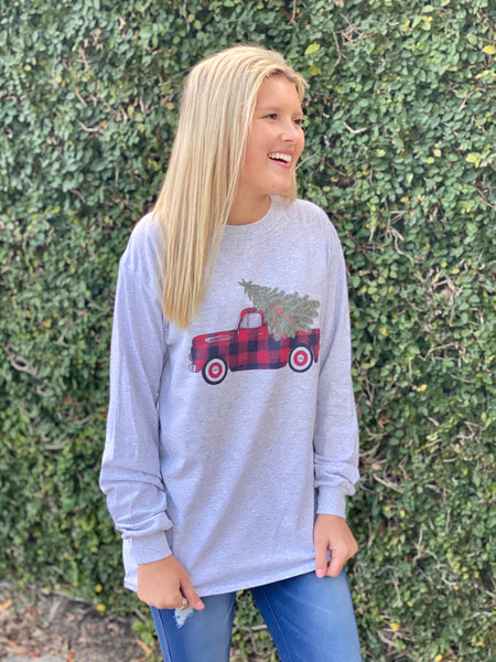 Christmas Plaid Truck Graphic Long Sleeve