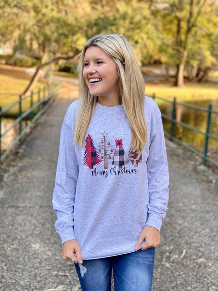 Four Christmas Trees Graphic Long Sleeve tee