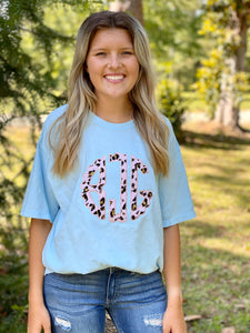 Personalized Pink Leopard Applique Comfort Color Blue Tee