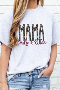 Personalized Mother's Day Leopard Print Graphic Tee