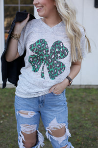 Green Leopard Clover White Marble Graphic Tee