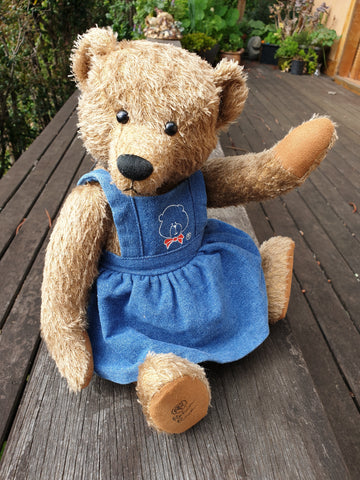Marcie, Robin Rive teddy bear, 36cm, khaki mohair, cute denim pinafore dress