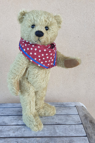 Gareth, Robin Rive standing bear, 32cm OOAK taupe mohair collectible standing teddys