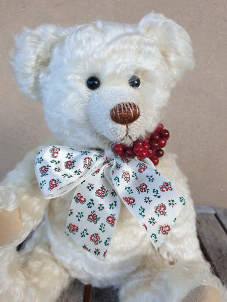 Winterberry, Robin Rive bear, 32m creamy white wavy mohair teddy, red berries, bow