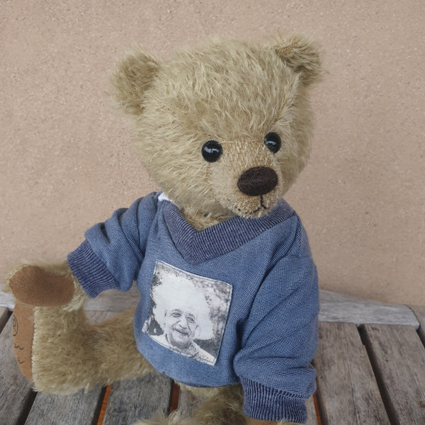Stan, 30cm Robin Rive Bear, OOAK collectible pale khaki mohair teddy, sweatshirt