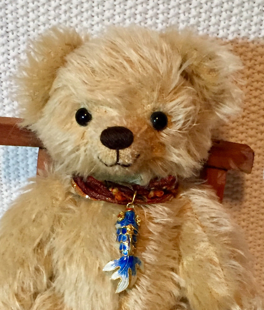 Jimmy, 30cmOOAK Robin Rive Bear, wearing a sweet enamel fish pendant