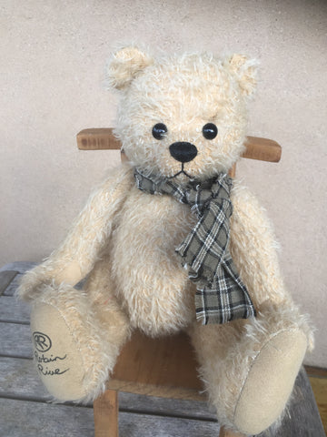 Benji, Robin Rive bear,30cm OOAK collectible wearing checked scarf