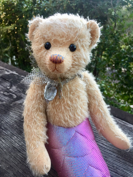 Little Mermaid, Robin Rive bear, 40cm OOAK collectible mermaid teddy, shell necklace
