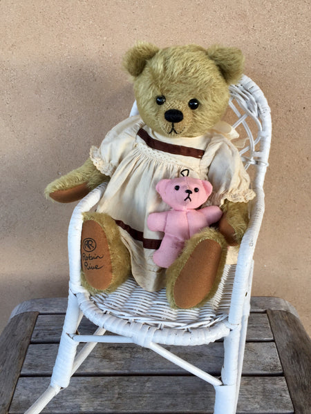 Hannah, 36cm collectible Robin Rive Bear, OOAK, calico dress