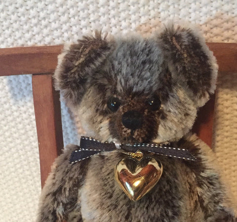 Aroha, Robin Rive Bear, 36cm OOAK collectible teddy with a love heart pendant