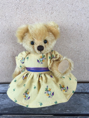 Cherub, 16cm, Robin Rive Bear OOAK bear with golden short mohair, floral dress and bow