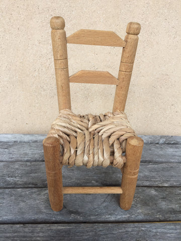 Wooden Chair woven seat - KiwiCurio-Robin Rive-Teddy Bears-Limited Edition