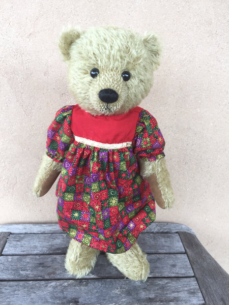 Mary, Robin Rive standing bear, 32cm OOAK taupe mohair collectible teddy, festive dress