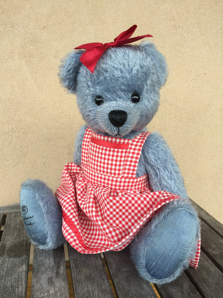 Blue gal, Robin Rive Bear, 38cm OOAK collectible pretty blue mohair teddy, red gingham dress
