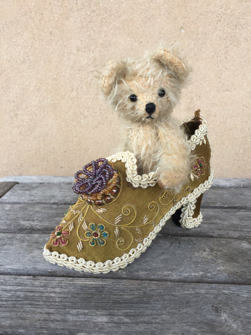 Tiny teddy in a shoe - KiwiCurio-Robin Rive-Teddy Bears-Limited Edition