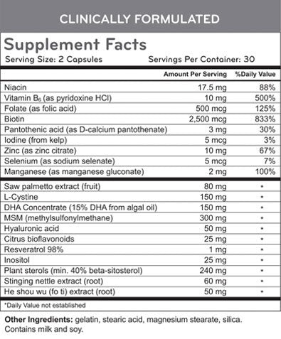 HairMax Dietary Supplement Nutrition Facts