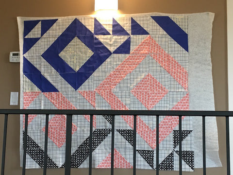 Triangle Jitters Quilt Kit on the Design Wall