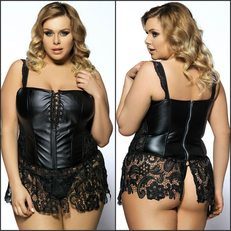 Sexy Faux Leather & Lace Corset