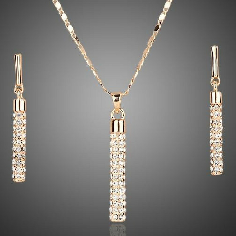 Gold Austrian Crystals Necklace & Earrings Set