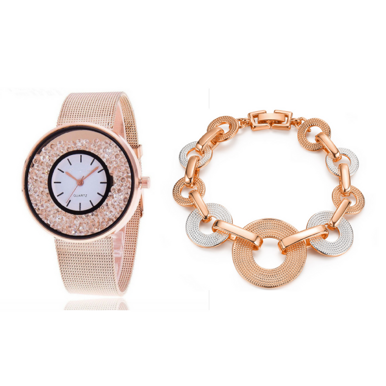 Rhinestone Watch & Bracelet Bundle