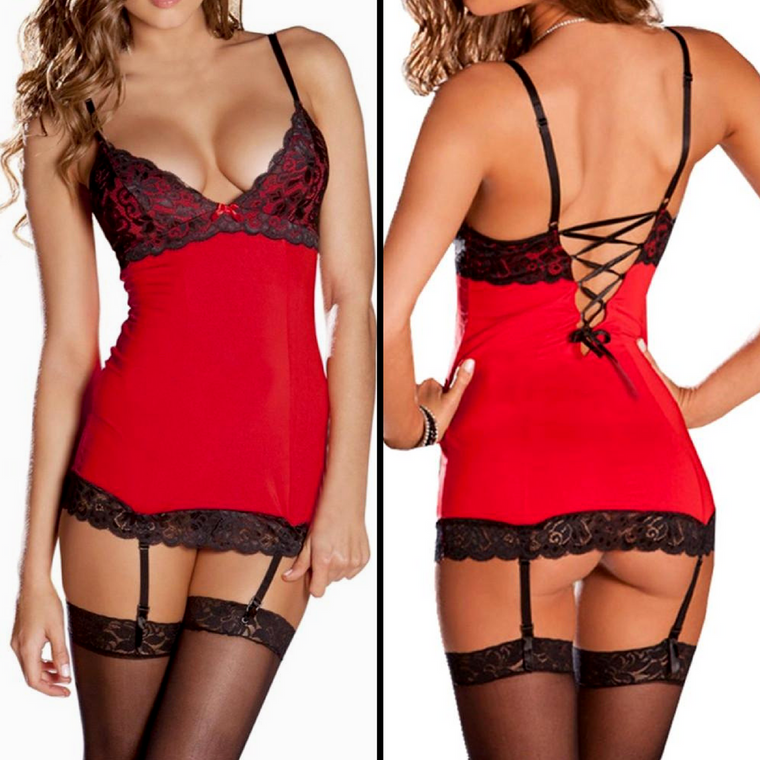 Red Sexy Lace Teddy Set