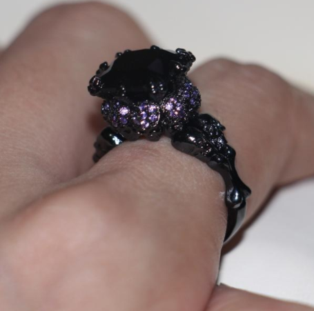 Skull Black and Purple Ring
