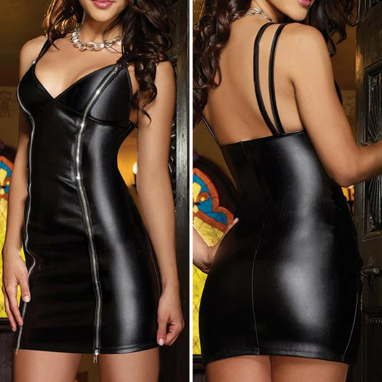 Maxi Latex Faux Leather Dress