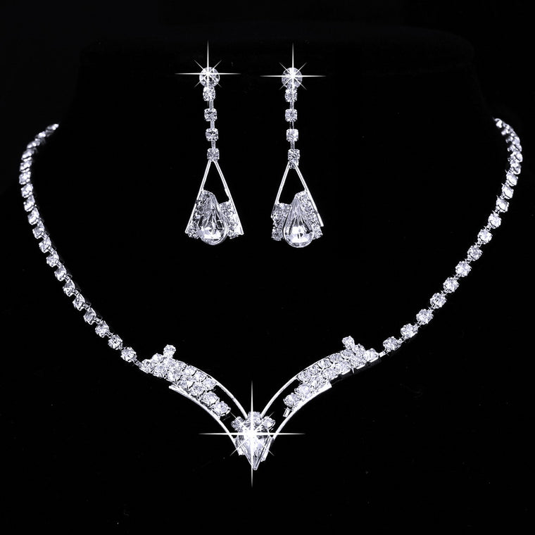 Sparkling Rhinestone V Necklace & Earrings Set